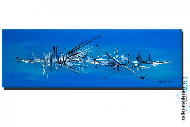 Tableau abstrait bleu grande toile Oasis de fraîcheur