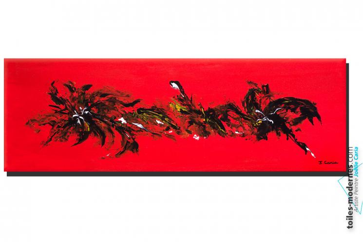 Tableau panoramique rouge grandes dimensions Lieu fleuri