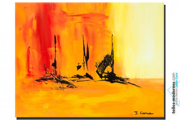 Tableau Rouge jaune abstrait Détente