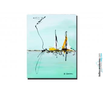 Tableau d'art décoratif vert pastel Pëche dans les eaux limpides