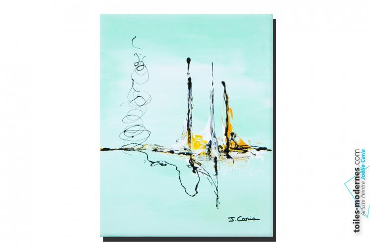 Tableau vert d'eau abstrait Les eaux claires