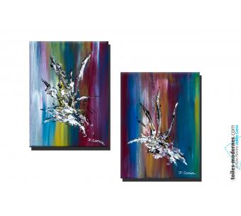 Tableau diptyque abstrait coloré Enchantement moderne