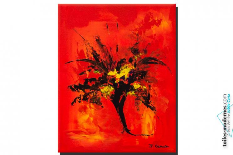 Tableau rouge abstrait Brassée d'amour déco intense