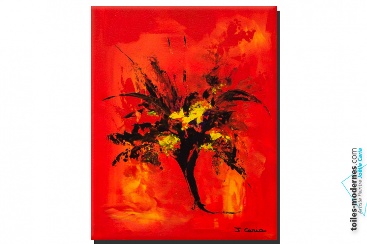 Tableau rouge moderne création abstraite format portrait déco couleur  intense et dynamique