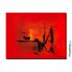 Tableau abstrait rouge Hiver au soleil déco lumineuse