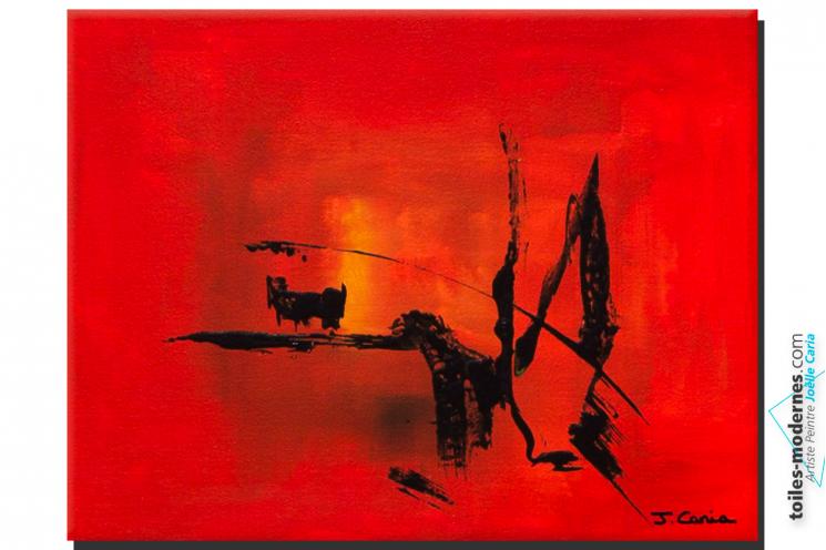tableau rouge abstrait hiver au soleil d co couleur vive et dynamique nouvelle collection. Black Bedroom Furniture Sets. Home Design Ideas