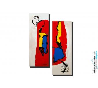 Tableau Diptyque beige rouge abstrait Délire moderne