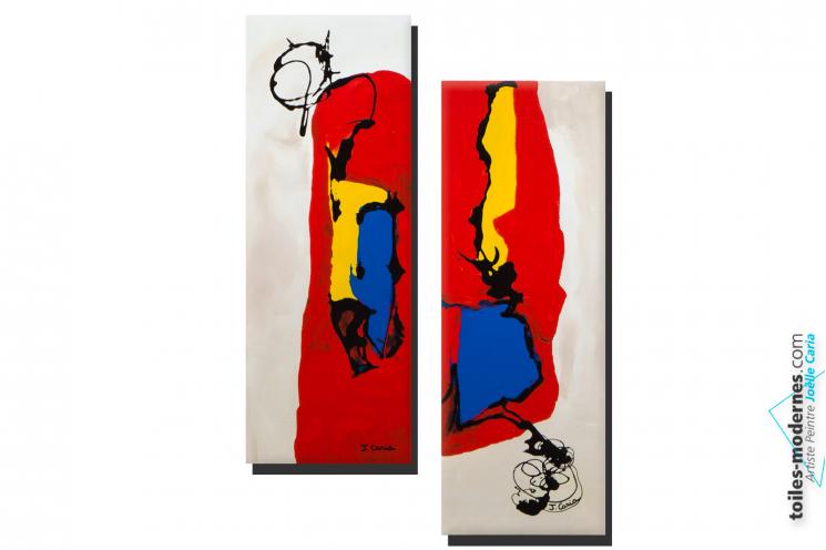 Deux cadres diptyque beige rouge abstrait Délire