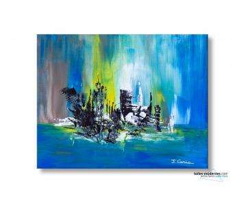 Tableau décoratif moderne Bleu marron abstrait Ville magique
