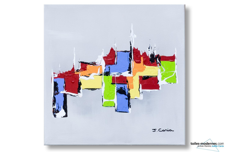 Tableau Gris Clair Abstrait Composition Harmonieuse Moderne
