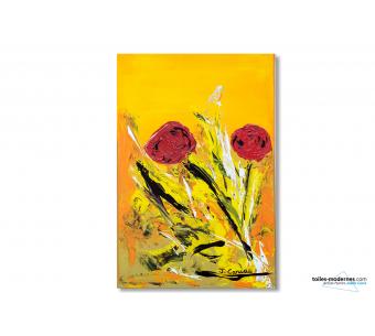 Tableau jaune orange décoration moderne Un beau témoignage