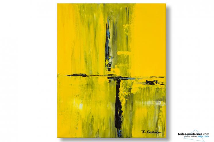 Tableau abstrait jaune Communication déco moderne