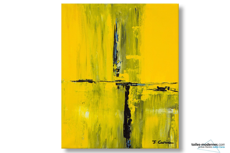 Tableau jaune cr ation abstraite format vertical d co for Tableau jaune et gris