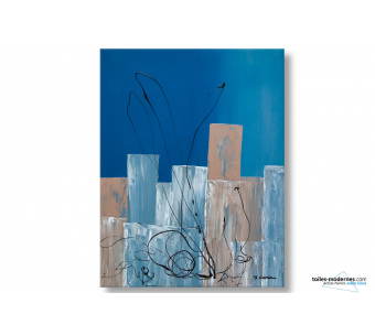 Tableau abstrait bleu Lieu étrange moderne
