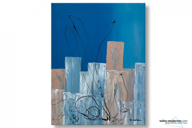 Grand tableau décoratif abstrait bleu Lieu étrange