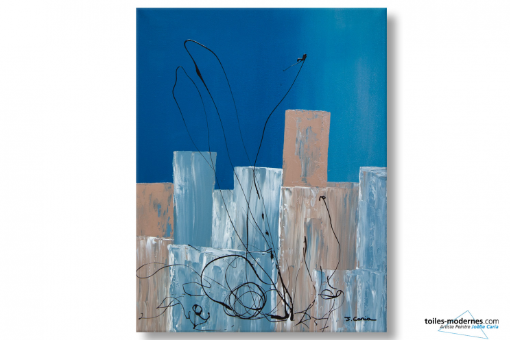 tableau abstrait bleu lieu trange moderne. Black Bedroom Furniture Sets. Home Design Ideas
