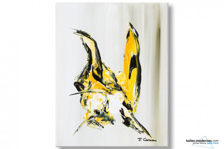 Tableau abstrait beige clair Nid d'oiseaux déco design