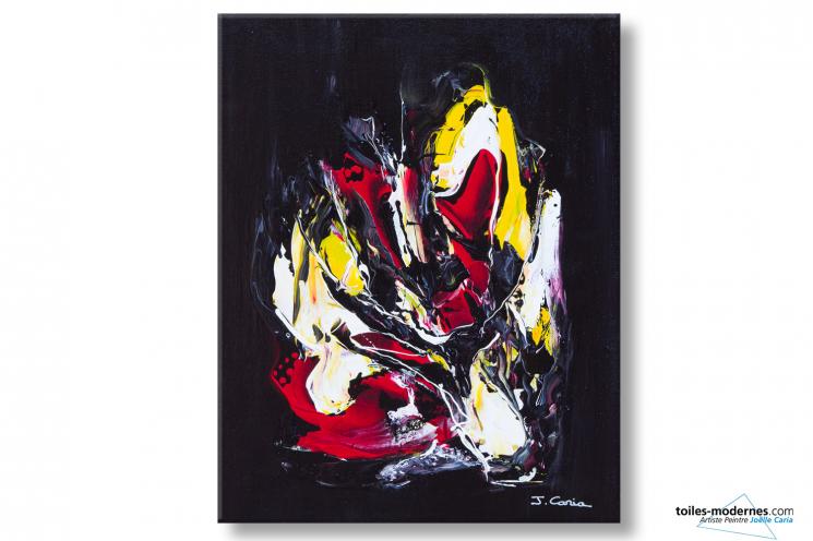 Tableau abstrait noir création moderne Métamorphose