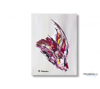 Tableau marron clair abstrait Un oiseau en plein vol déco design