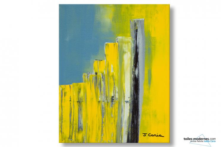 Tableau contemporain d'art abstrait jaune gris Echange déco moderne