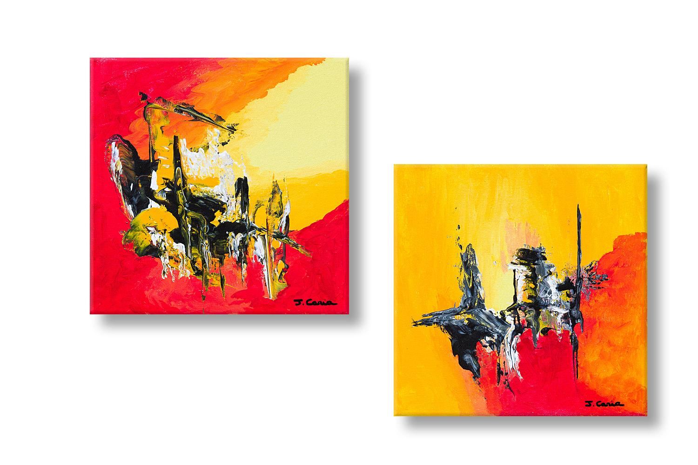 Tableau orange rouge moderne et flamboyant diptyque for Images tableaux modernes