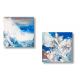 Tableaux diptyque bleu gris abstrait Entre deux mers