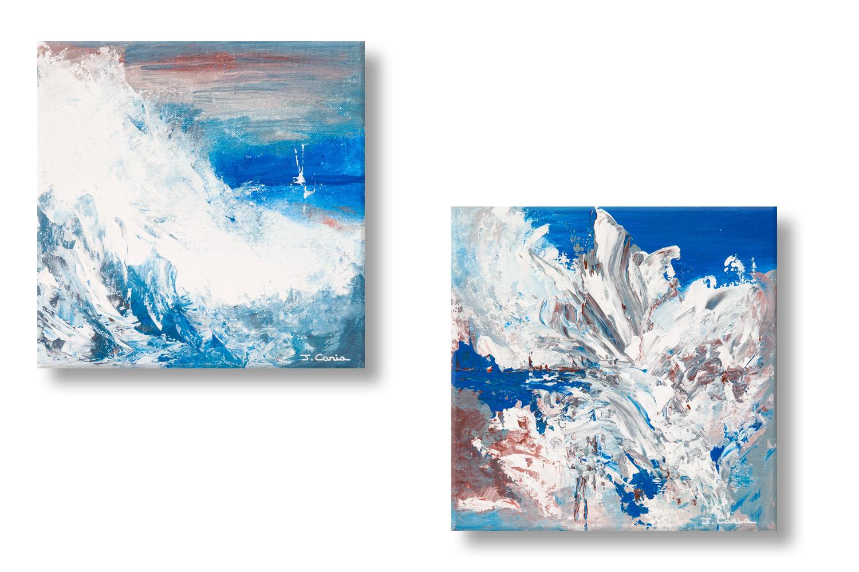 Tableaux diptyque bleu gris entre deux mers d coratifs for Tableau bleu et gris