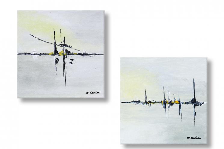 Tableaux gris jaune pastel diptyque abstrait Crépuscule du matin