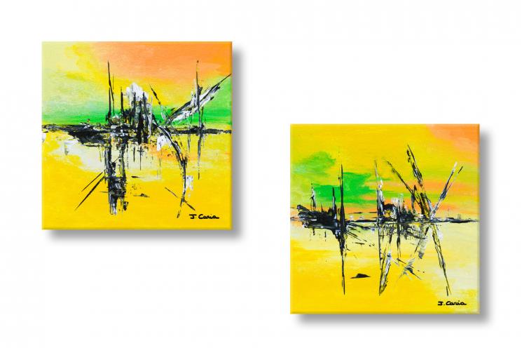 Tableaux diptyque jaune vert abstrait Coucher du soleil