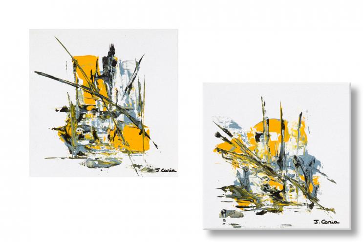Tableaux diptyque blanc abstrait Ville au grand jour