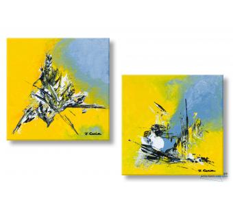Tableau jaune gris abstrait Printemps naissant moderne