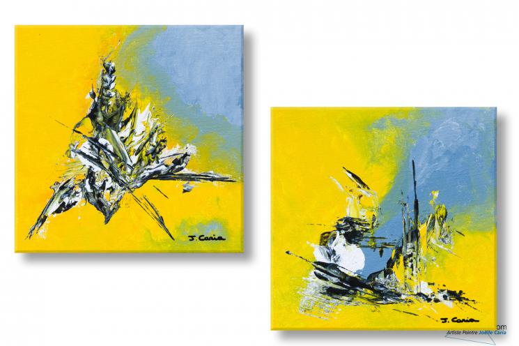Tableaux diptyque jaune gris abstrait Printemps naissant