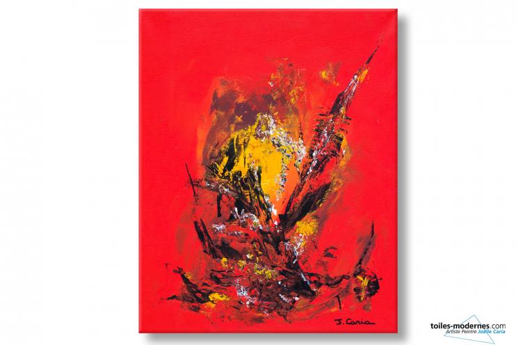 abstrait rouge Coucher de soleil à la campagne déco éclatante