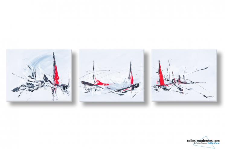 Tableau triptyque gris clair abstrait Artique