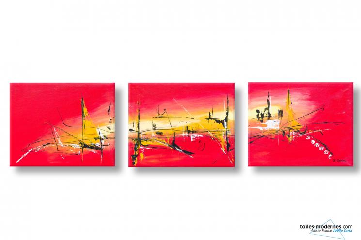 Tableaux triptyque rouge vif moderne chaleur torride 3 - Tableau triptyque pas cher ...