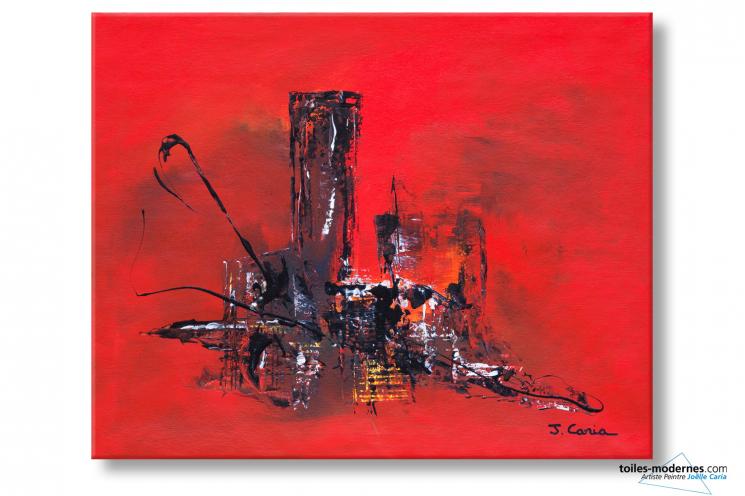 Tableau Rouge abstrait Le soir à la ville