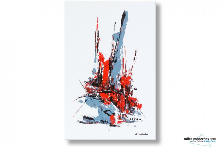 Tableau abstrait blanc Intrigue avec crochets déjà installés