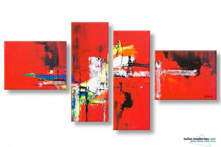 Tableau quadriptyque rouge et noir abstrait Une ville flamboyante