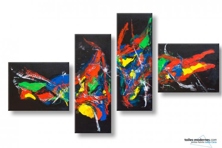 Tableau noir quadriptyque abstrait Vision fantastique
