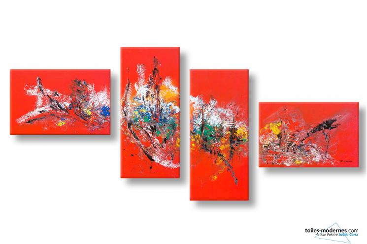 Tableau rouge abstrait très grand quadriptyque La forêt merveilleuse
