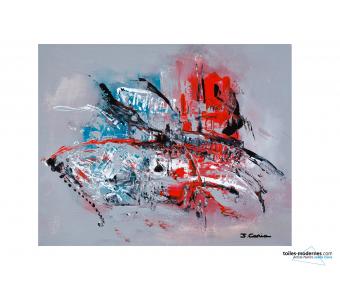 Tableau gris rouge contemporain Ardeur