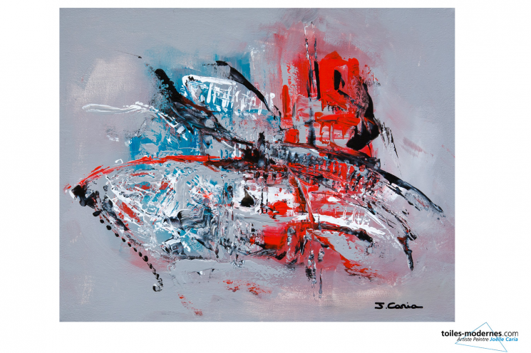Tableau gris rouge contemporain Ardeur