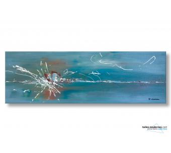 Tableau bleu gris contemporain Oasis de liberté format panoramique XXL