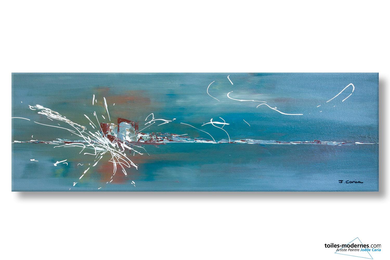 d u00e9co bleu gris avec ce grand tableau panoramique contemporain xxl oasis de libert u00e9 une pi u00e8ce