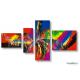 Quadriptyque multicolore abstrait Réjouissance