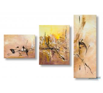 Triptyque marron abstrait Douceur d'automne