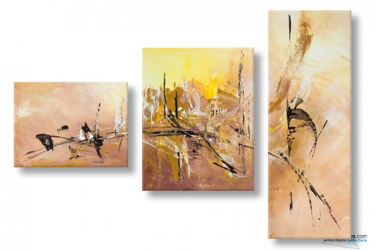 Faire une d co marron moderne avec un tableau triptyque brun douceur d 39 au - Peinture acrylique triptyque ...