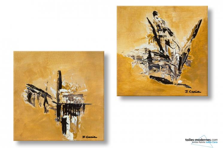 Diptyque Marron clair contemporain Paysages d'autome