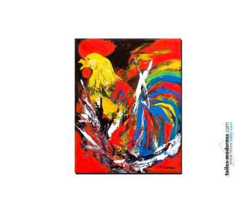 Tableau coloré abstrait Bravo les bleus moderne
