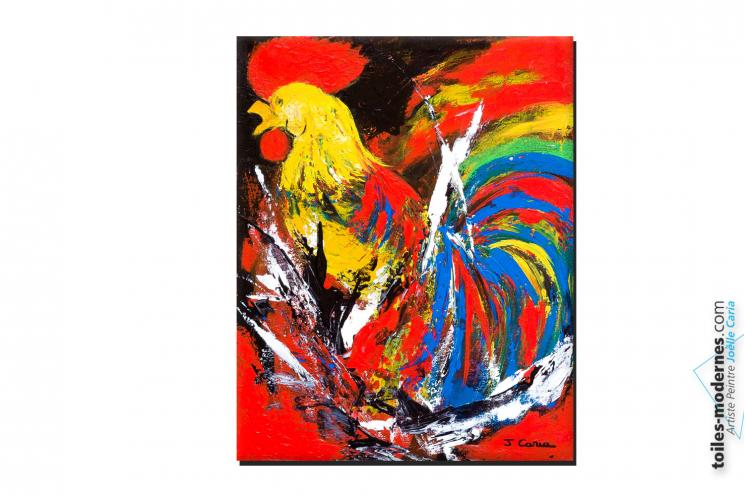 Tableau coloré contemporain Bravo les bleus